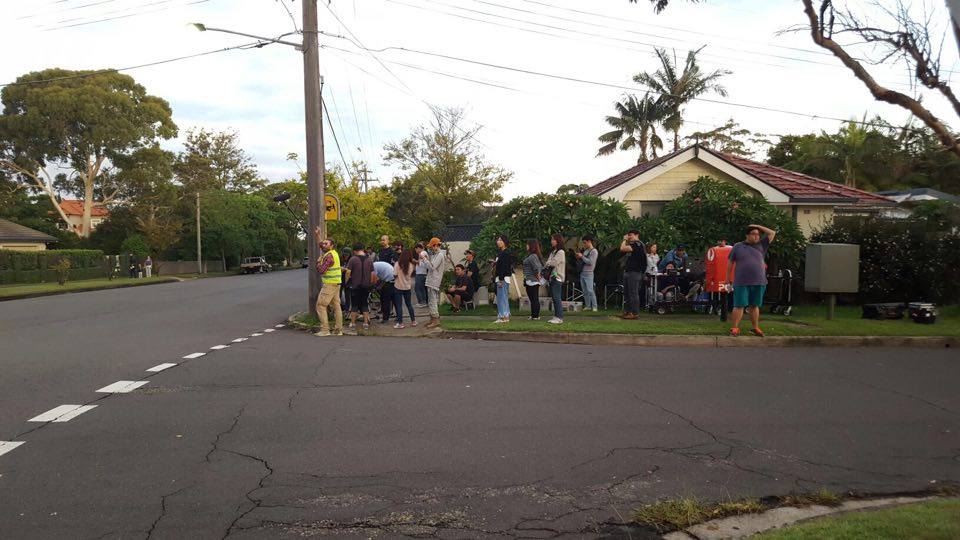 film crew on location in lane cove