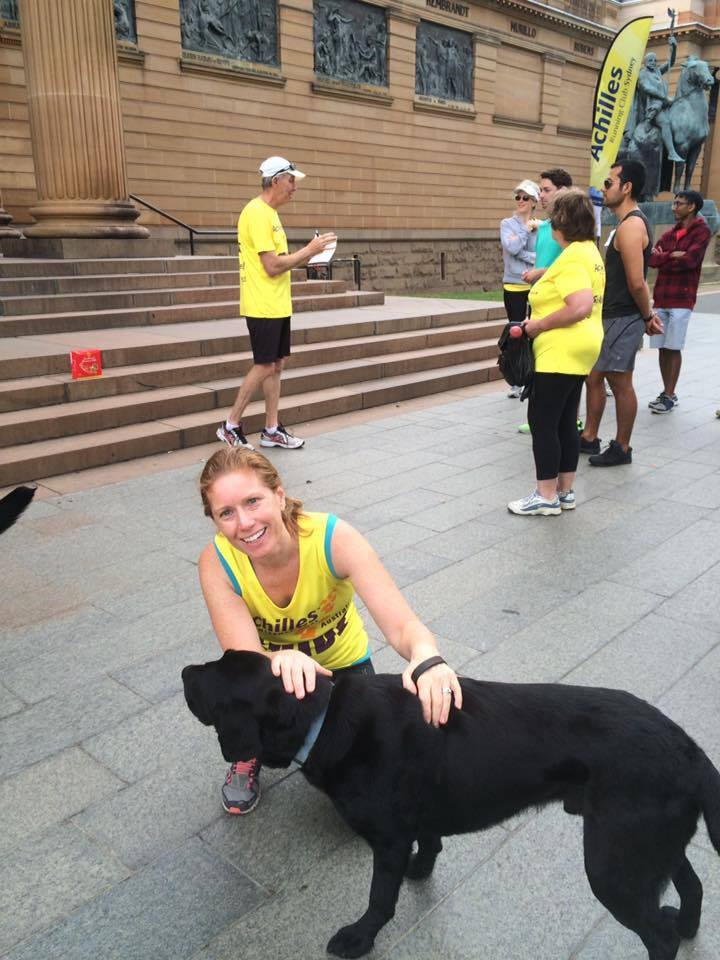 Even guide dogs need a run. Megan Chatterton gearing up for an easy Sunday run with Zep.