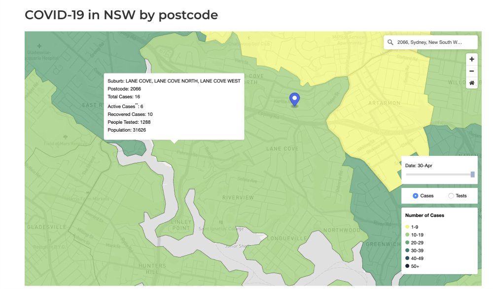Nsw Health Has Released A Heat Map Showing Covid19 Cases By Postcode In The Cove